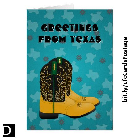 This greeting card features decorated black and gold cowboy roper boots with green trim in front of a #Texas state and #cowboy spurs pattern over a textured gradient turquoise background. The text on the front can be changed to whatever you like, plus you can add your own text to the inside. #StudioDalio #cowboyboots #stationery #stationeryaddict #greetingcards #notecards #custommade