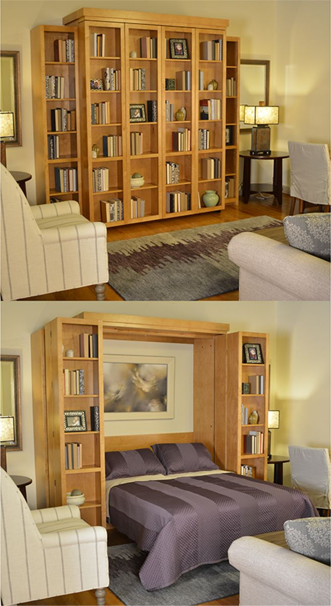 With a bi-fold bookcase wall bed, you can take convertible furniture to a whole new level. Make use of the normally blank front by storing books, pictures, anything you want! Then when you need to, fold them out of the way to pull your bed down for a restful night sleep in your handmade Murhpy bed from Stuart David Home Furnishings. Get one in your custom selection of real wood, finish, and hardware today!
