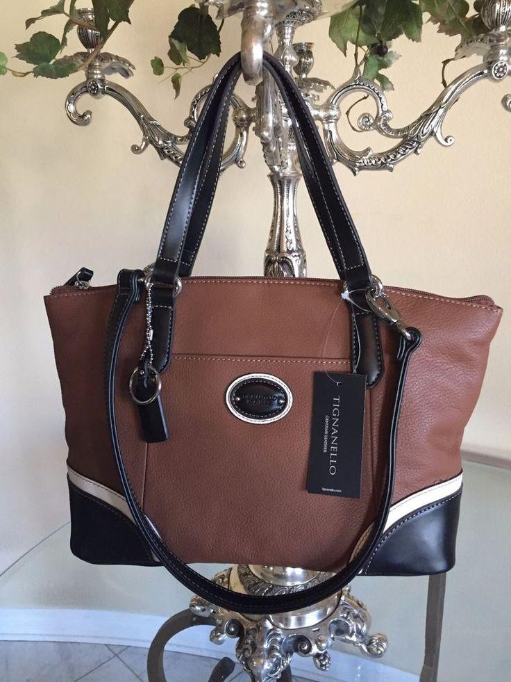 Tignanello Handbag Convertible Satchel Purse Leather Brown White Black NWT $149 #Tignanello #Satchel
