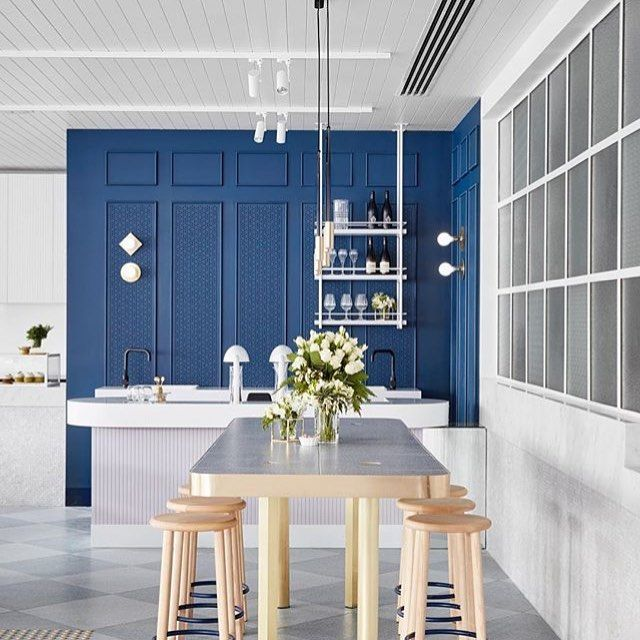 Regram of the beautiful decor of @middletowncafe Featuring Dulux #SharpBlue such a stunning blue. Can't wait for weekend brunch! | Branding: @pop_and_pac Photography @peterclarkephoto
