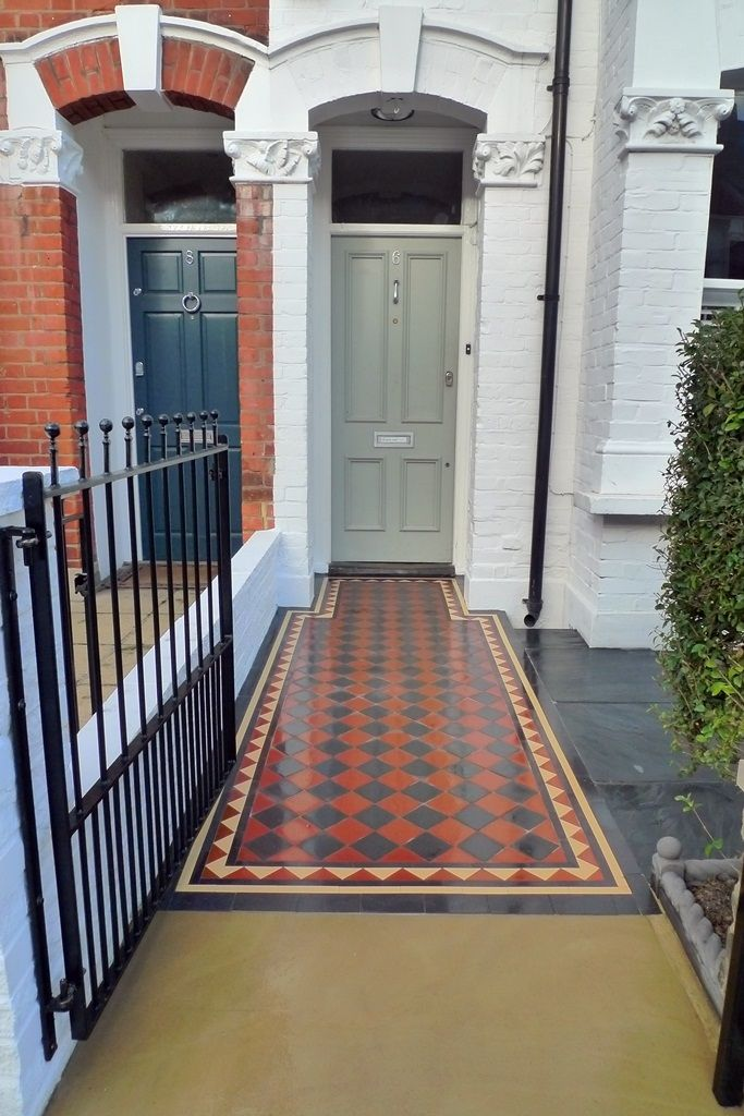 elegant-victorian-mosaic-stone-paving-iron-metal-work-front-garden-london.JPG