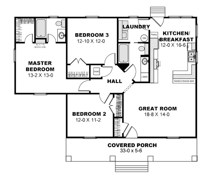 Cottage Style House Plan - 3 Beds 2 Baths 1260 Sq/Ft Plan #44-175 Floor Plan - Main Floor Plan - Houseplans.com