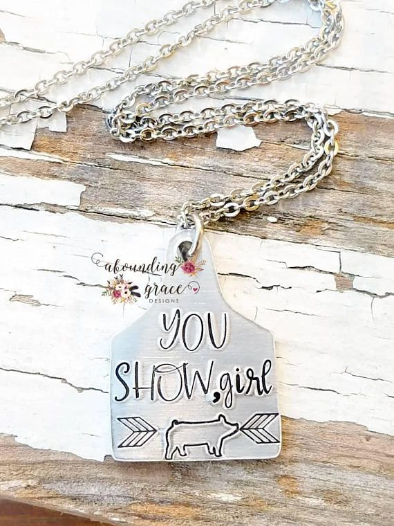 Agriculture 4H Ear Tag necklace Cow Cattle Pig Sheep Goat Show Farming Jewelry.
