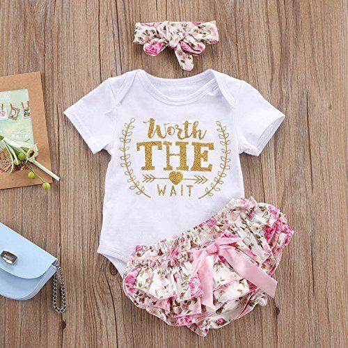 3PCS Newborn Kids Baby Girl Outfits Clothes Romper Bodysuit+Tutu Pants Dress Set