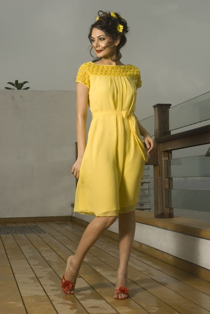 Muted yellow colour dress