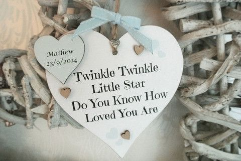 Personalised Baby Boy Heart Births/ Christening - Divine Shabby Chic