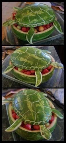 """Ваза для фруктов """"черепаха"""", вырезанная из арбуза - Креативные - Красивые картинки, фото - Галерея картинок - Галерейка"""