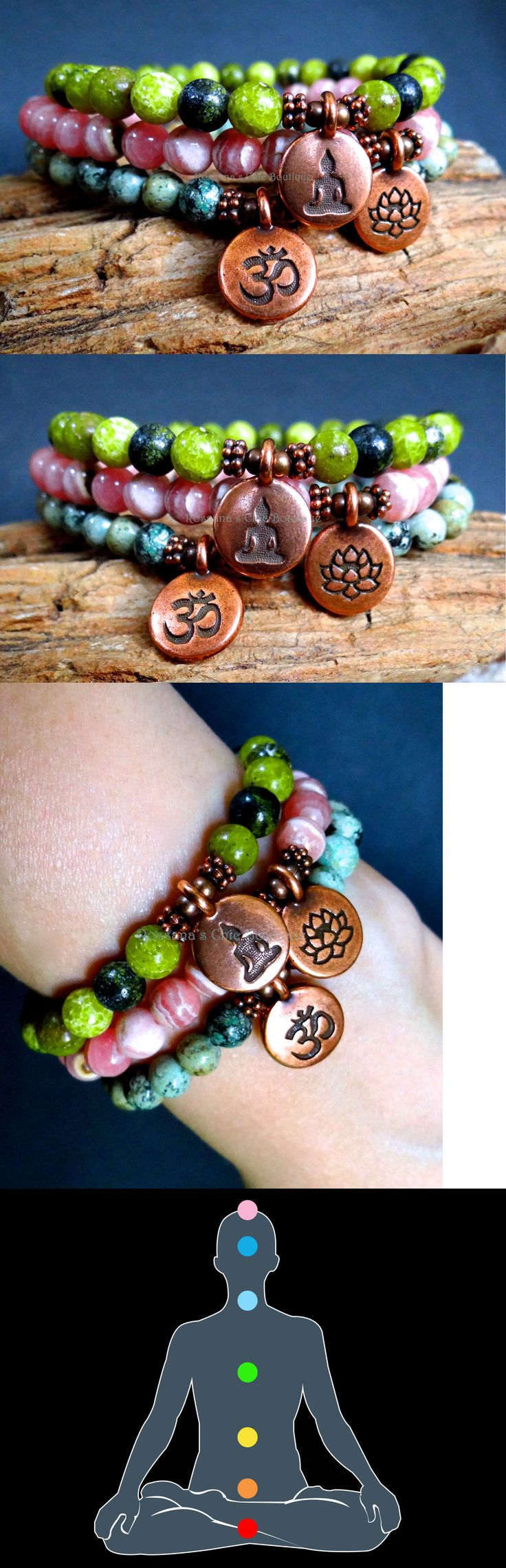 Bracelets 98483: Set Bracelets African Turquoise, Rhodochrosite With Copper Buddha, Lotus And Om -> BUY IT NOW ONLY: $42 on eBay!