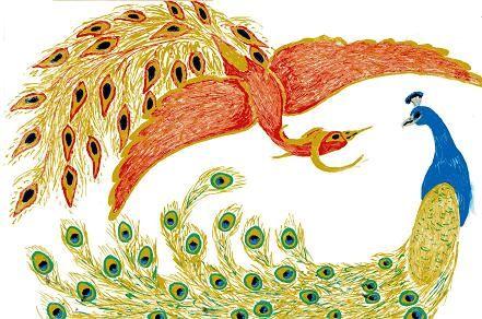SciFi and Fantasy Art phoenix and peacock by Britt Van de Wijngaert