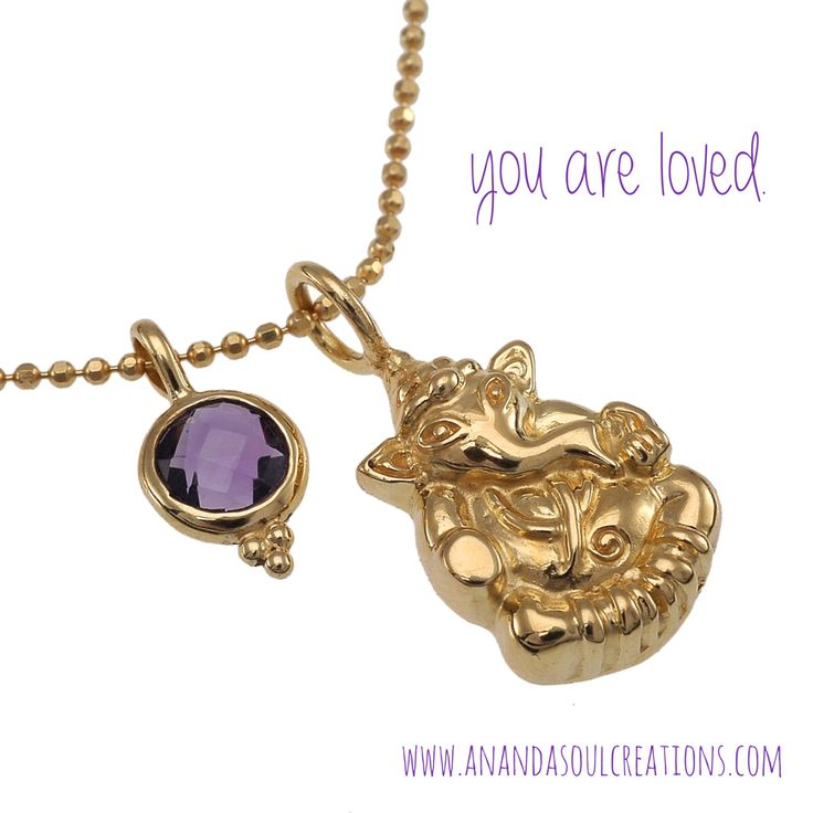 Sending you big elephant love. Lord Ganesh protects and guides us - and helps us grow in the direction of our soul's purpose. May this weekend bring you closer to this purpose. | Ganesha Sharanam necklace available at www.anandasoulcreations.com | #ganesha #blessed #protection #boho #jewelry #yoga #bali #amethyst