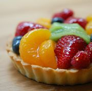 Glazed Fruit Tart recipe:      GLAZE & FRUIT FILLING. Make the apricot glaze by heating apricot jam and water together in a small saucepan. Stir well to melt. Strain liquid and discard any pulp. Place liquid back in saucepan and heat gently for 5 minutes to thicken. Allow to cool slightly.  Dip pastry brush into apricot glaze and lightly brush the surface of the fruit to give an attractive shine.