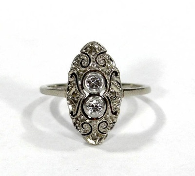 Antique Art Deco 14k White Gold 0 12ct Diamond Brilliant Filigree Ring Jewelry | eBay