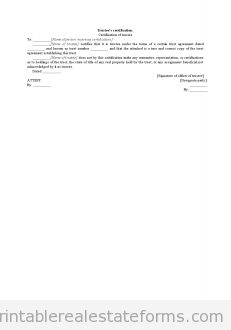 Free Trustee's Certification Printable Real Estate Forms