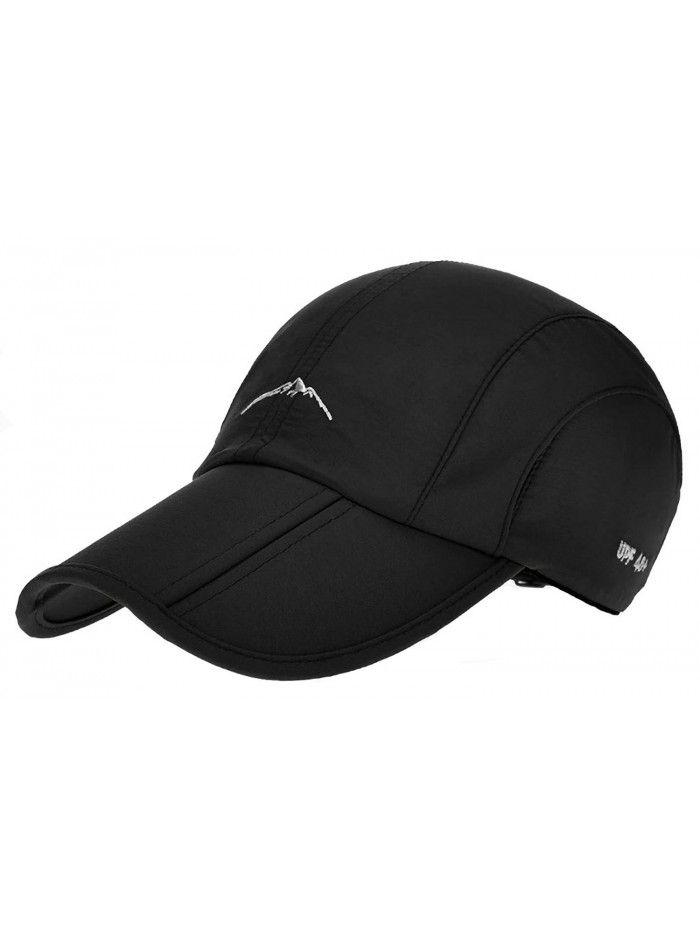 2f25cefdcb75e Sun Hat Packable Cap Long Bill Water Repellent Finish - Black ...