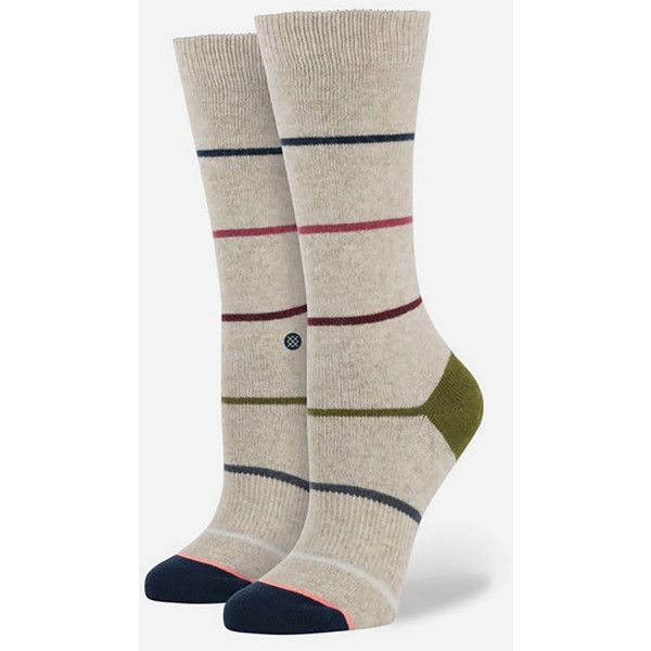 Stance Tumbler Womens Socks ($16) ❤ liked on Polyvore featuring intimates, hosiery, socks, natural, cuff socks, sport socks, stance socks, sports socks and winter boots