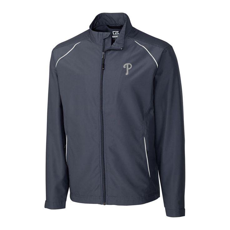 Philadelphia Phillies Cutter & Buck Big & Tall WeatherTec Beacon Full Zip Jacket - Charcoal