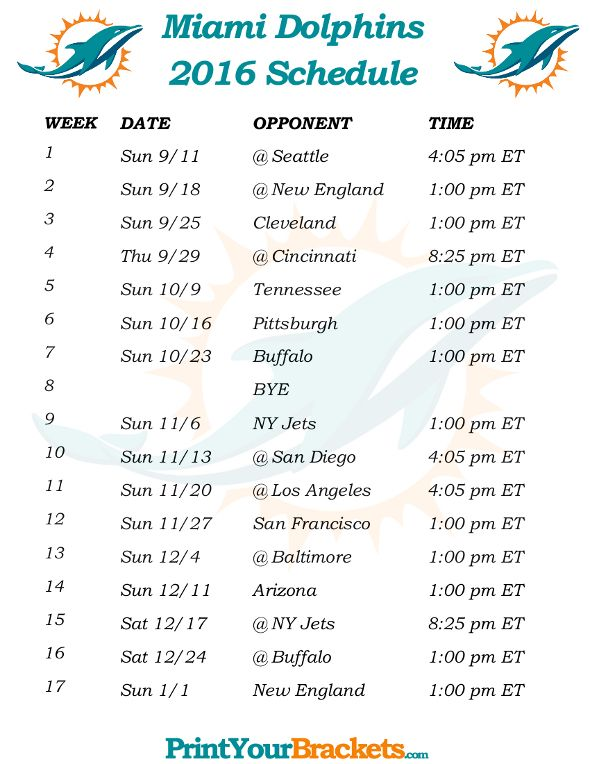 Printable Miami Dolphins Schedule - 2016 Football Season