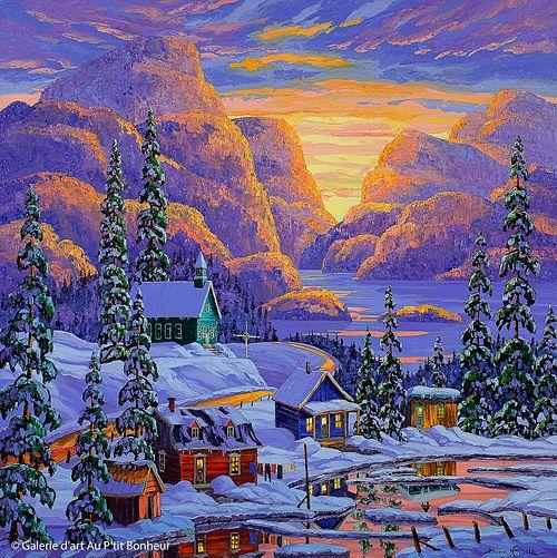 Vladimir Horik, 'Fin de journée glorieuse', 48'' x 48'' | Galerie d'art - Au P'tit Bonheur - Art Gallery
