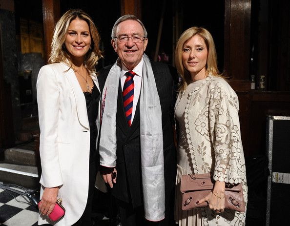 20th March 2012 -Princess Tatiana of Greece, Constantine II of Greece and Crown Princess Marie Chantal of Greece pose backstage at the Celia Kritharioti Spring/Summer 2012 fashion show at One Mayfair on March 20, 2012 in London, England