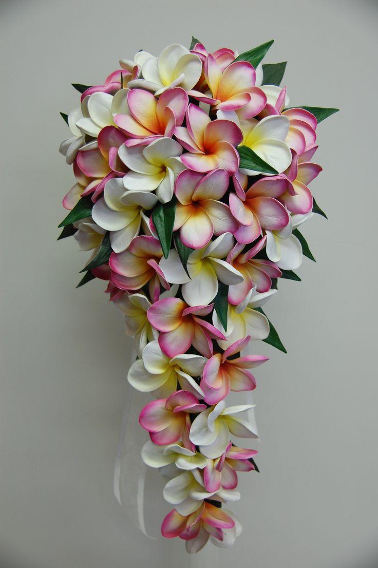 Frangipani teardrop bouquet pink and white yellow