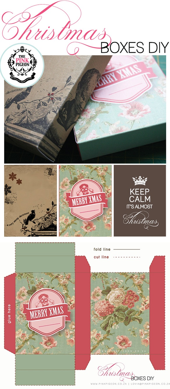 Christmas Boxes - 3 Styles - Free PDF   http://www.theprettyblog.com/2011/12/christmas-boxes-free-printables/