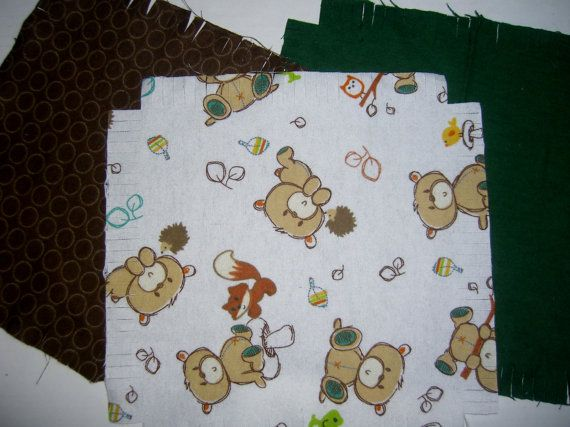 Baby Flannel rag quilt kit teddybear teddy by ConniesQuiltFabrics