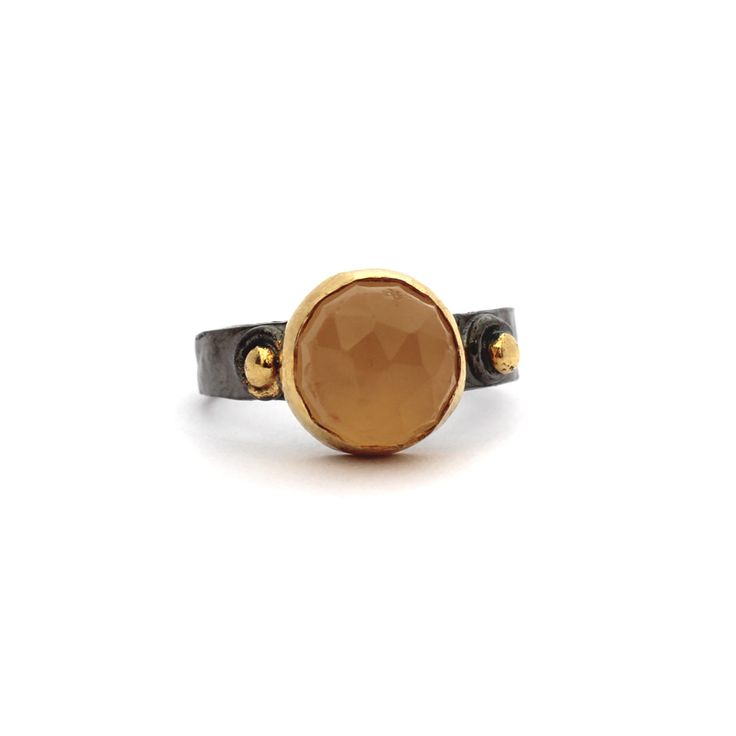 Enise Ring - Kate McCoy | Enise is a Turkish name that means desire or wish. Handmade using sterling silver and finished with black rhodium and 14kt yellow gold vermeil.