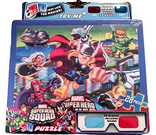Marvel Superhero Squad Thor 3D Puzzle 28 Pieces Includes 3D Glasses @ niftywarehouse.com #NiftyWarehouse #Thor #Marvel #Avengers #TheAvengers #Comics #ComicBooks