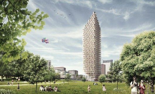 Wooden Skyscraper from the park. Image © C.F. Møller