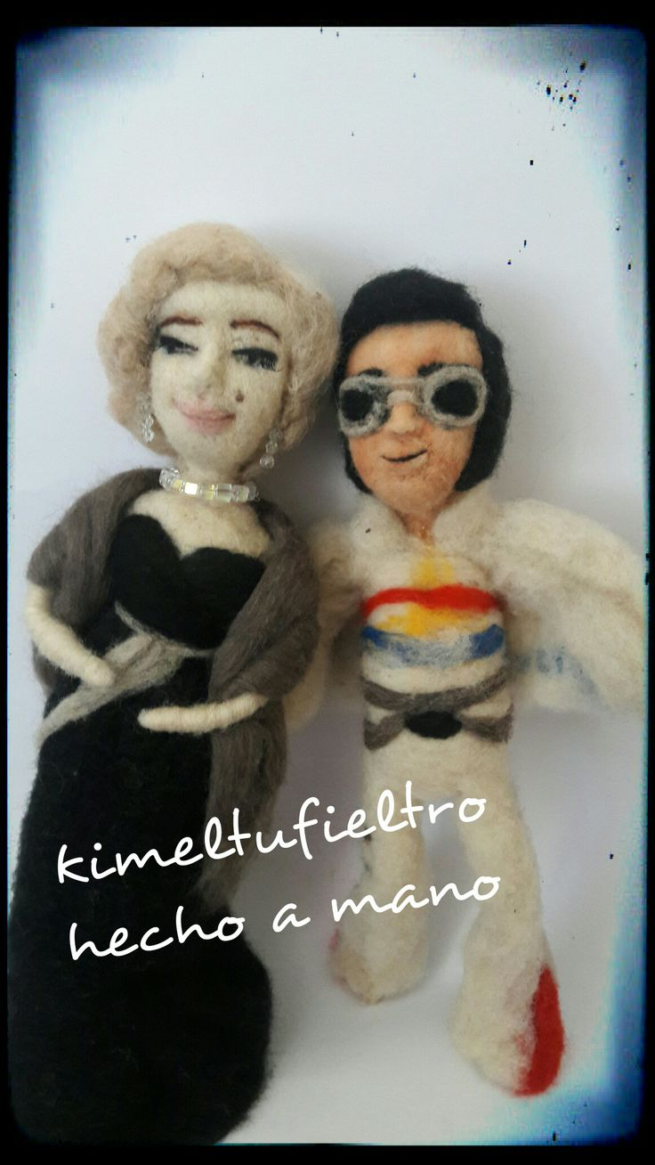 Marilyn monroe  Elvis Presley  Figuras con agujas  Hecho a mano  Chile