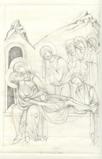 El cuerpo de Cristo colocado en la tumba.