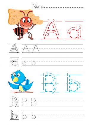 Alphabet Practice A – B  #Alphabet Practice #Free printable #worksheet