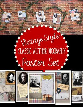 Spark student interest in a variety of classic authors with these unique shadowbox-style posters! This original collection includes 5 11x14 printable color posters. Each poster features a photo of the author, a short list of their well-known works, a quotation from the author, and items representative of their