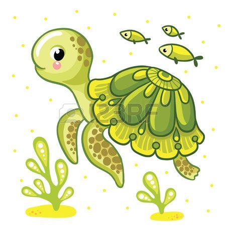 Leuke cartoon schildpad ge soleerd Schildpad en vissen op een witte achtergrond vector illustratie  Stockfoto