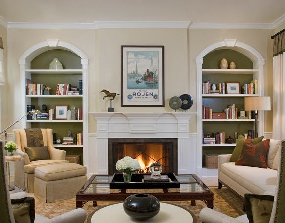 Living room paint colors with built ins colonial - Salon colonial design ...