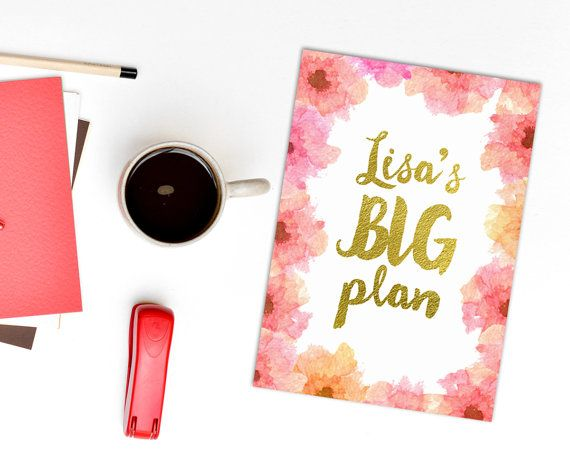 Personalized planner cover, big plans diary page, custom name planner, pink and peach watercolour florals, gold lettering planner, name