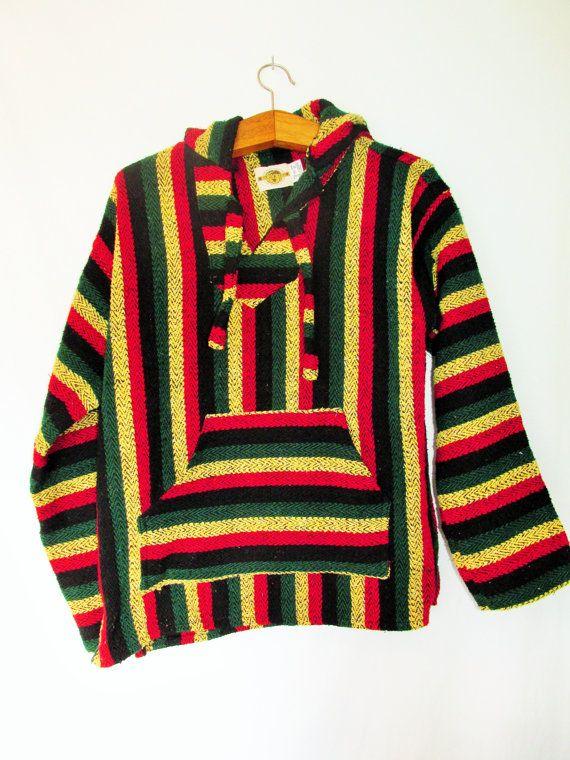 Vintage 1990u0027s Rasta Striped Mexican Baja Poncho Drug Rug Hoodie By  FreshtoDeathVintage