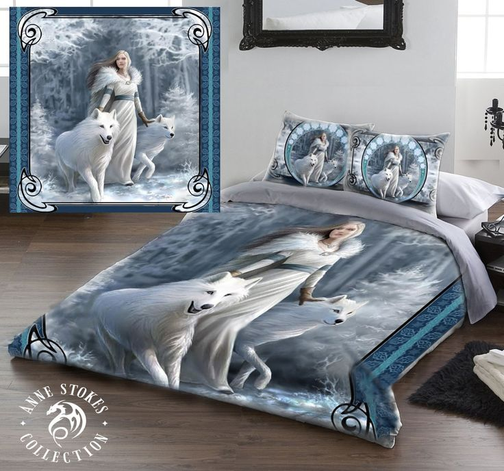WINTER GUARDIANS Double Bed Duvet and Pillowcase Bed Linen Set Artwork by Anne Stokes: Amazon.co.uk: Kitchen & Home