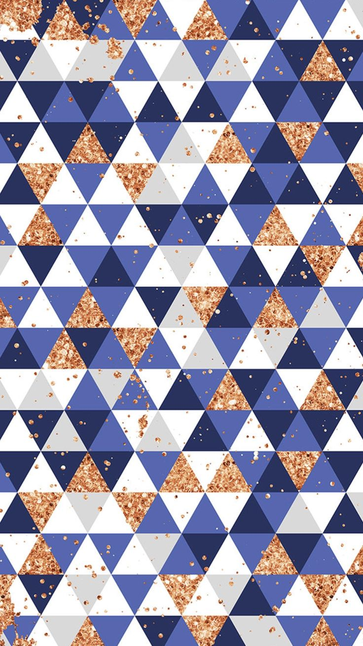 Sparkly Gold & Blue Triangle Wallpaper