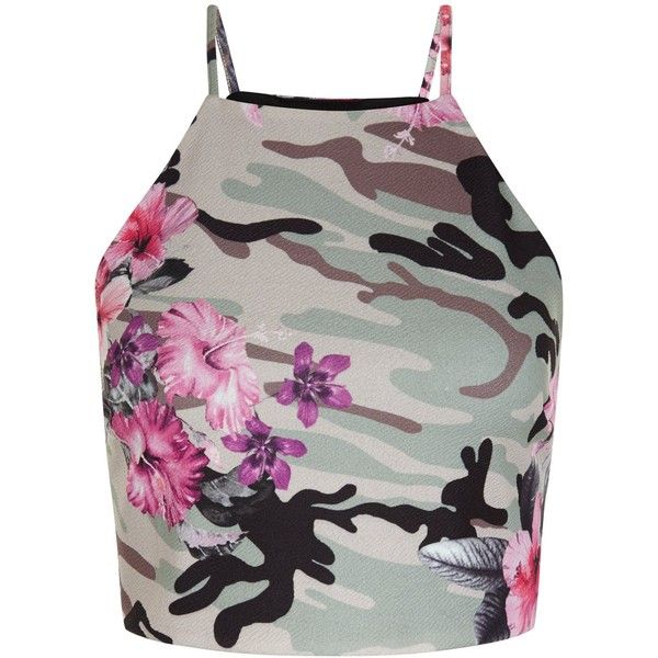 New Look Green Floral Camo Print Crop Top ($22) ❤ liked on Polyvore featuring tops, green pattern, print crop top, flower print top, camouflage top, green top and pattern tops