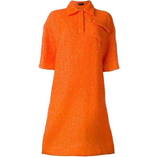 Rochas shirt dress ($1,618) ❤ liked on Polyvore featuring dresses, t-shirt dresses, orange shirt dress, rochas, orange dress and long shirt dress