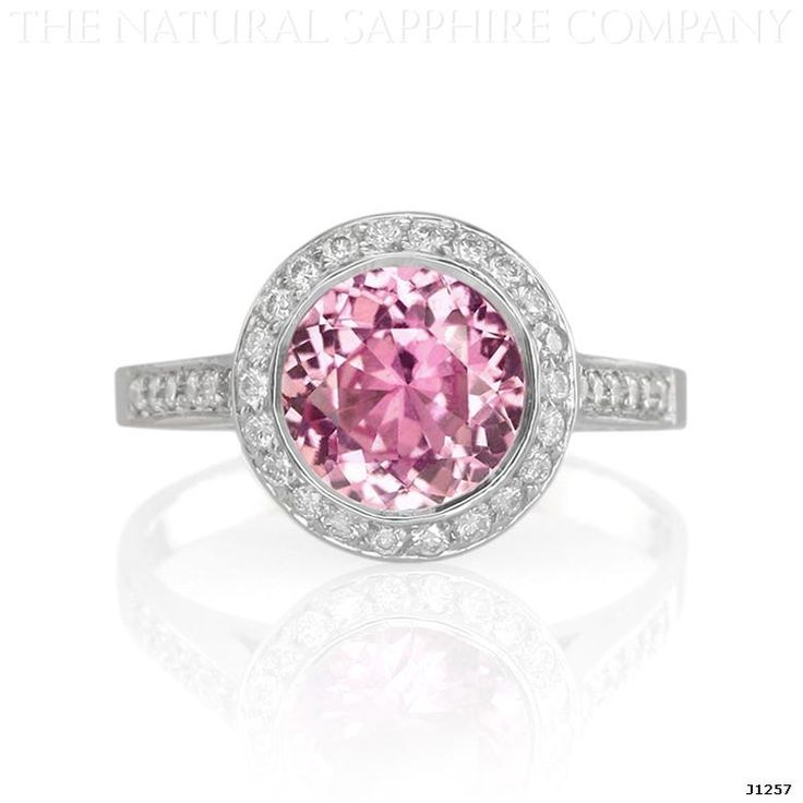 Natural Pink Sapphire and Pave Diamond Engagement Ring