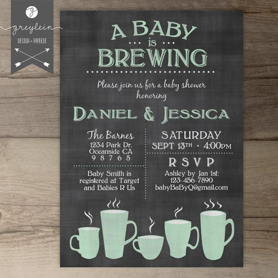 Baby is Brewing • Coffee Cups • Baby Shower Brunch • BabyQ • gender neutral baby shower • co-ed party • Love is Brewing • mint • chalkboard • coffee mugs • by greylein on Etsy