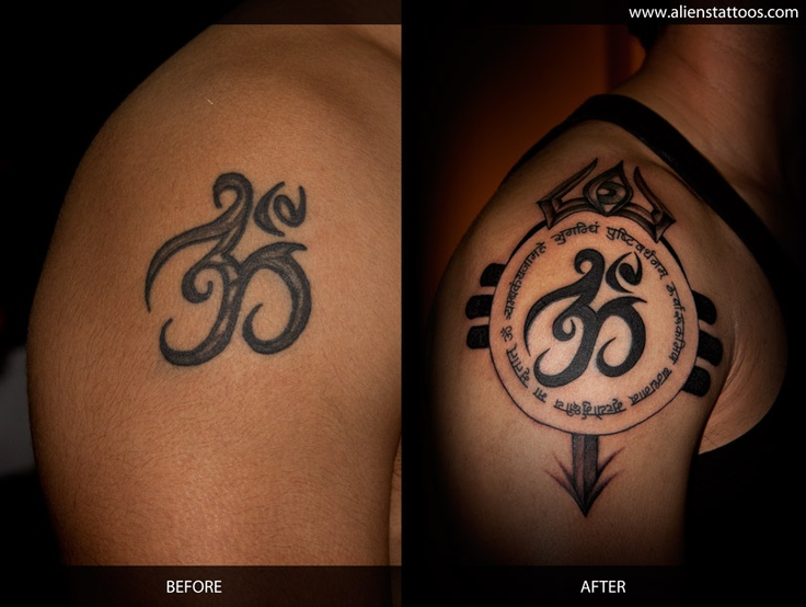 om with mantra and trishul extension tattoo concept design and inked by sunny at aliens. Black Bedroom Furniture Sets. Home Design Ideas