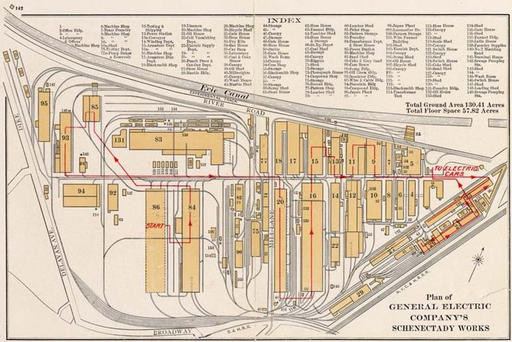 Plan of the 150+ buildings which comprised General Electric Company's Schenectady Works in 1904
