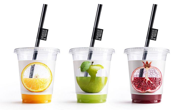 transparentes und fruchtiges packaging von fruchsäften