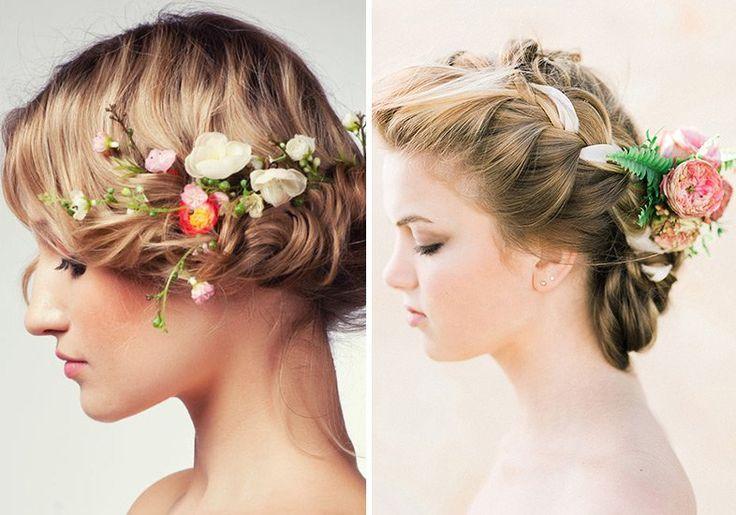Arranjos de Cabelo com Flor Natural - Inspiração para Noivas.  #brides #noiva #casamento #beauty #looks #hair