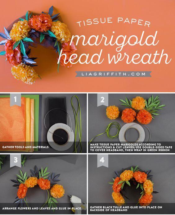 Marigold Flower Crown - Lia Griffith - www.liagriffith.com #diyinspiration #diyhalloween #diycostume #diyhalloweencostume #diadelosmuertos #dayofthedead #flowercrown #paperflower #paperflowers #tissuepaperflowers #madewithlia