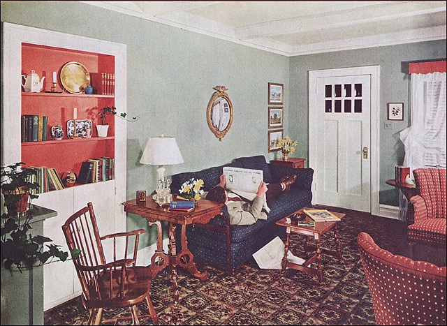 1941 bungalow redecorating project for living room retro for Redecorating family room