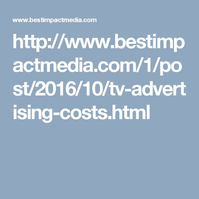 TV Advertising Costs